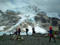 trekkers having photos at Everest