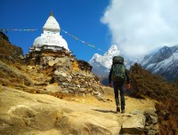 trekkers towards to Everest Base Camp